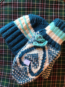 Ladies Knitted Hat & Mittens Set Blue/Green