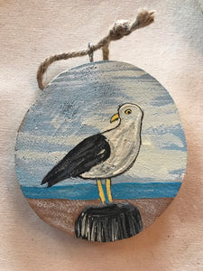 Hand Painted Wooden Seagull Ornament