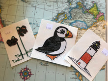 Load image into Gallery viewer, Hand drawn stickers Puffin/Pitcher Plant/Lighthouse