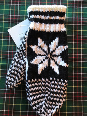Ladies Knitted Snowflake Mittens