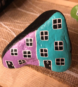 Hand Painted Rowhouse Painted Rock SMALL #1