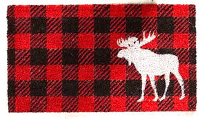 Cabin Life Buffalo Plaid Moose Floor Mat