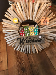 Driftwood Rowhouse WELCOME Wreath