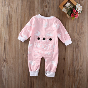 "Baby / Toddler Little Girls Pink "" Don't Moose With Me "" Romper"