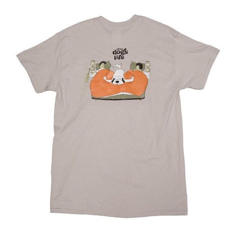 It's a Dog's Life T Shirt - Grey - Dog in Bed