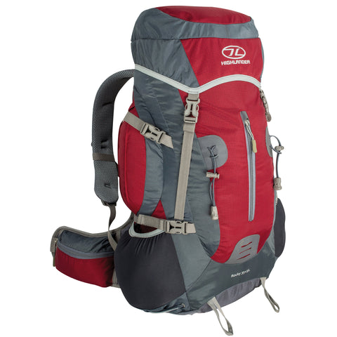 Highlander Rocky 35 + 5l Technical Rucksack with Suspended Mesh back - Red/Grey