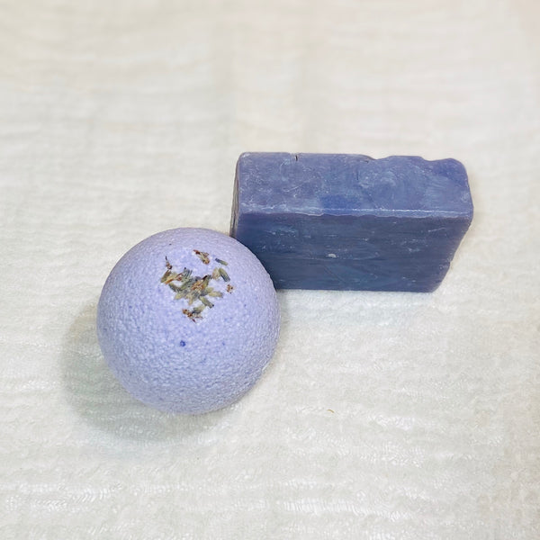 Calming lavender bath soap and bath bomb