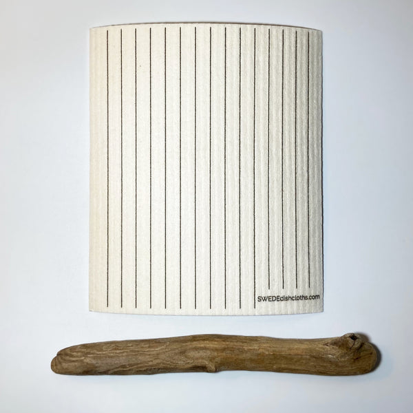 Black and White Line Pattern Natural cloth displayed with birch wood stick
