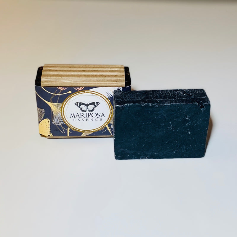 Lavender Activated Charcoal bath soap packaged.