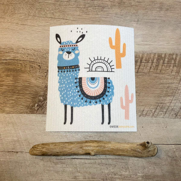 Blue llama with cactus in orange