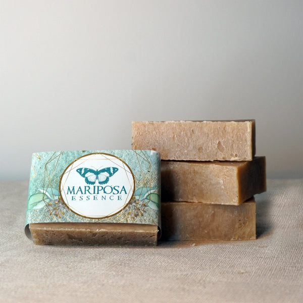 Frank and Myrrh bath soaps stacked.