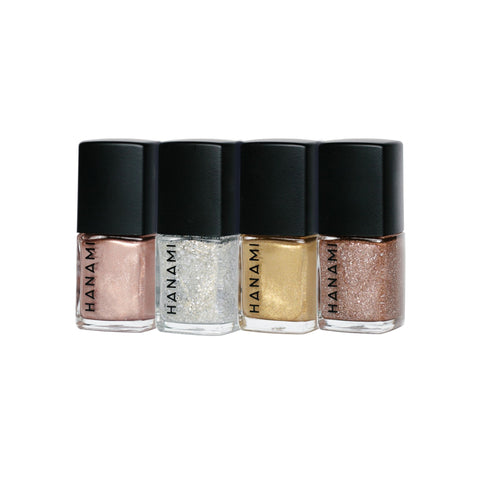 Four 9ml Hanami non-toxic nail polishes in shimmery festive colours
