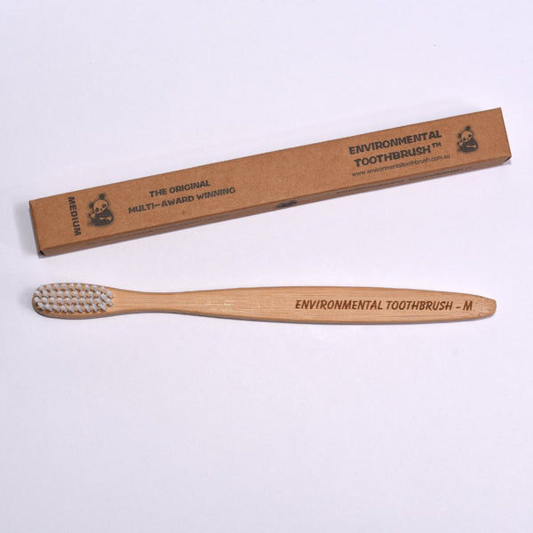 Bamboo toothbrush with packaging for adults