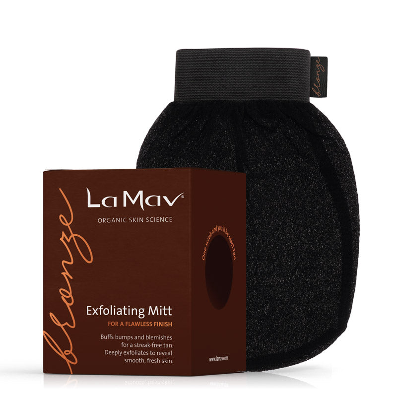 La-Mav-Exfoliating-Mitt buffs bumps & blemishes for a streak free tan