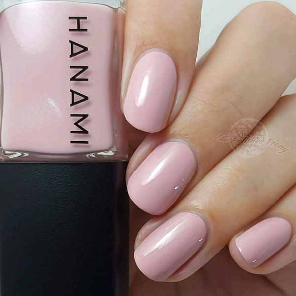 Beautiful nails painted in Hanami blush pink
