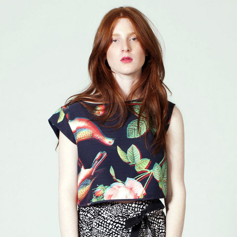 Cross Back Crop Top - Digital Birds