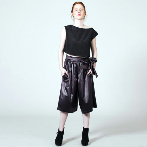 Midi Culottes - Black Satin