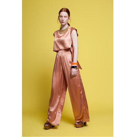 Wide Leg Pants - Salmon Silk