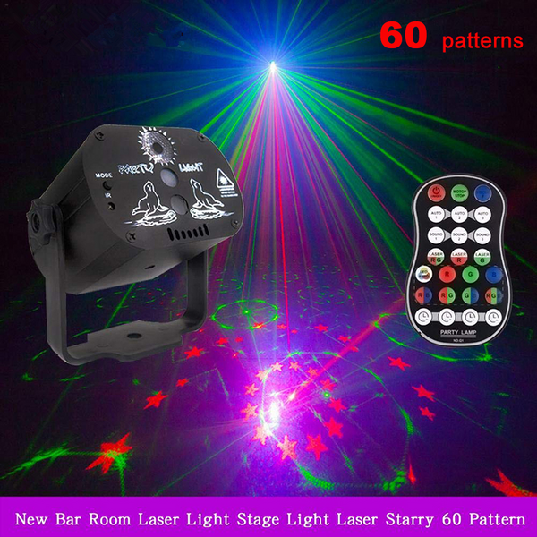 60 Patterns RGB LED Disco Light USB Recharger Laser Projection Stage Light