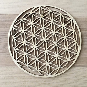 Flower of Life laser cut wood grid