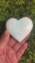 Load and play video in Gallery viewer, Caribbean Blue Calcite heart XGE