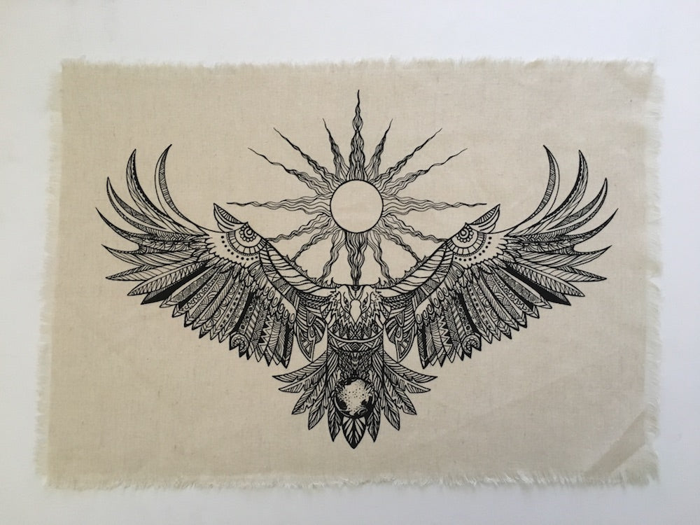 Eagle Spirit linen crystal grid