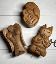 Load image into Gallery viewer, Hand crafted wooden puzzle box, cat , angel, mother and child