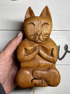 Hand crafted wooden puzzle box, cat , angel, mother and child