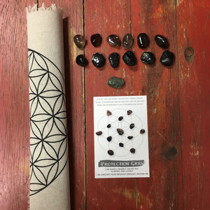 "Protection Grid Kit- All crystals included - 15"" printed flower of life linen grid and 13 crystals"