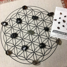 "Load image into Gallery viewer, Protection Grid Kit- All crystals included - 15"" printed flower of life linen grid and 13 crystals - The7directions"