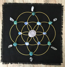 Seed of Life black linen crystal grid ** Free Ship