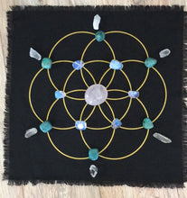 Load image into Gallery viewer, Seed of Life black linen crystal grid - The7directions