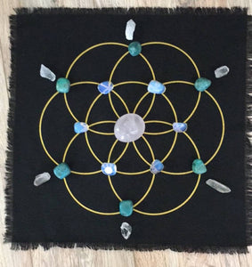 Seed of Life black linen crystal grid - The7directions