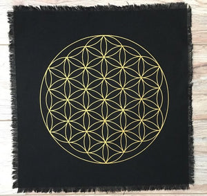 Flower of Life black linen crystal grid- Free shipping - The7directions
