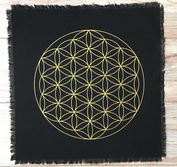 Flower of Life black linen crystal grid