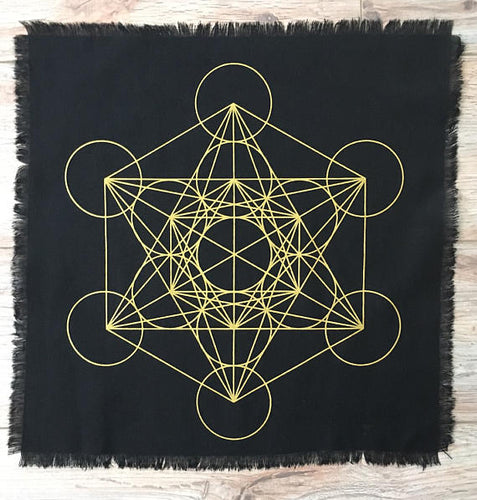 Metatron black linen crystal grid