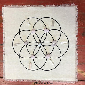 "Love crystal grid kit - All crystals included - 15"" printed Seed of life linen grid and 13 crystals"