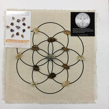 Load image into Gallery viewer, Abundance Crystal grid Kit- All crystals , instructions and linen grid included - The7directions