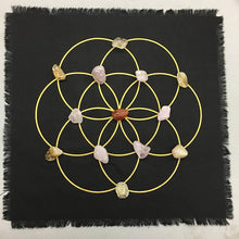 Load image into Gallery viewer, Healing Grid Kit- All crystals included - Linen seed of life grid includes cleansing and layout instructions - The7directions