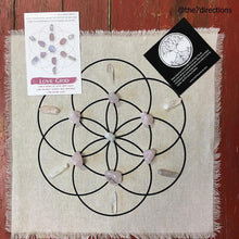 "Load image into Gallery viewer, Love crystal grid kit - All crystals included - 15"" printed Seed of life linen grid and 13 crystals - The7directions"