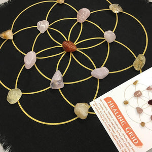 Healing Grid Kit- All crystals included - Linen seed of life grid includes cleansing and layout instructions