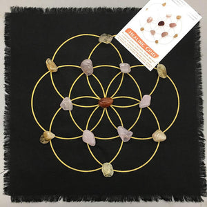 Healing Grid Kit- All crystals included - Linen seed of life grid includes cleansing and layout instructions - The7directions