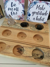 Load image into Gallery viewer, Reclaimed wood candle / tarot card holder 3 hole - The7directions