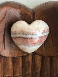 67mm Red White Calcite Onyx Heart SA5 Calming - The7directions
