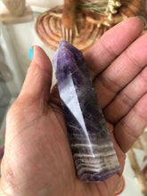 Load image into Gallery viewer, 86 mm Chevron Amethyst third Eye Chakra tower SE2 - The7directions