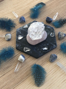 Throat Chakra Grid with feathers