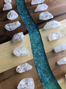 Set of 6 Clear quartz Fire and Ice tower Clarity gridding points