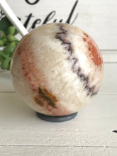 Load image into Gallery viewer, 69mm Red White Calcite Onyx Sphere SA5 Calming - The7directions
