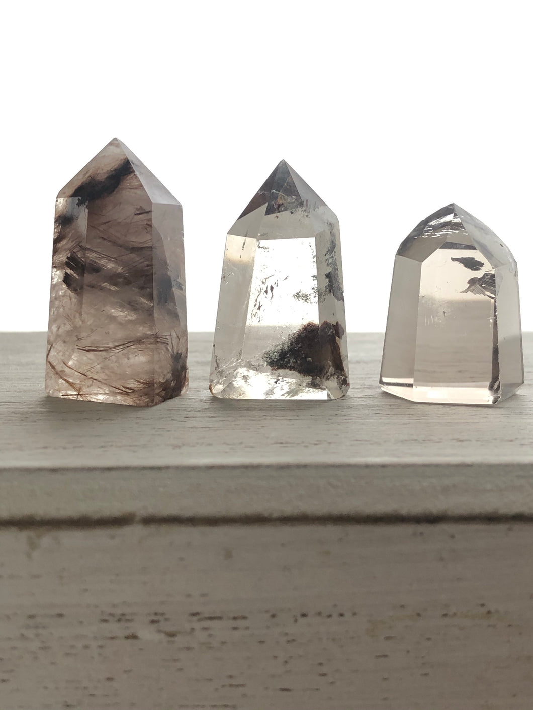 Set of 3 Mini Lodolite, Rutilated and smoky quartz YM2 - The7directions