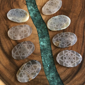 Mini Flower of life agate slab calming YF2 - The7directions